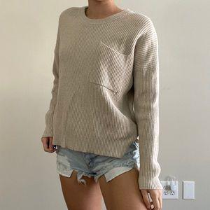 Madewell Oatmeal Knit Crewneck Sweater